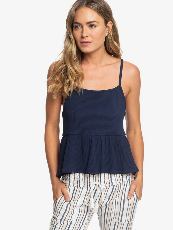 0 Deep Seast Strappy Ribbed Peplum Top Blue ERJKT03548 Roxy