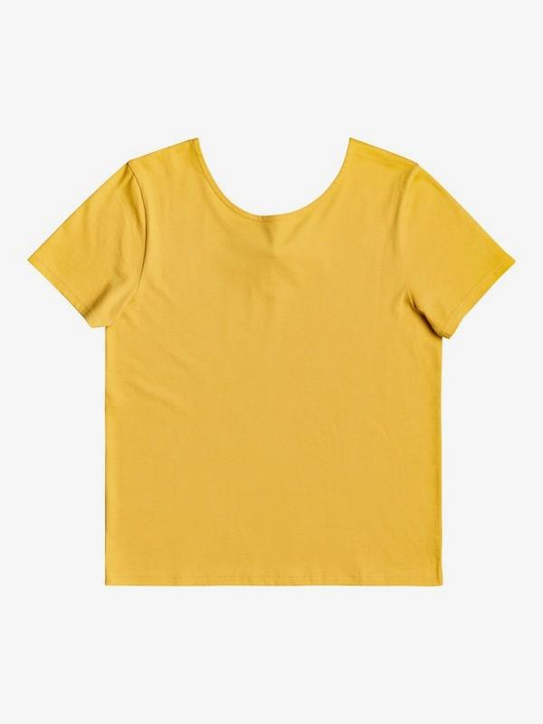 0 First Time - Bow Detail Short Sleeve Top for Women Yellow ERJKT03556 Roxy