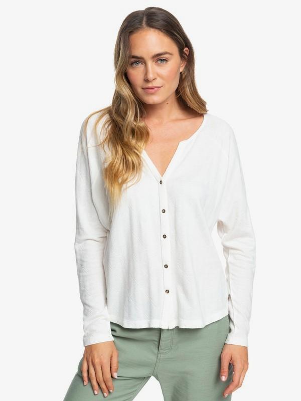 0 Free Fallin - Long Sleeve Buttoned Top for Women White ERJKT03559 Roxy