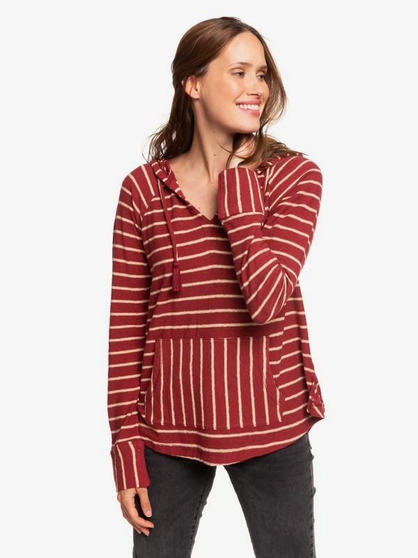 0 Long Night Hooded Long Sleeve Top Red ERJKT03562 Roxy