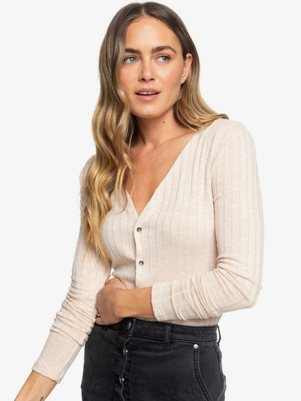 Try And Loves - Rib Knit Long Sleeve Buttoned Top for Women  ERJKT03563