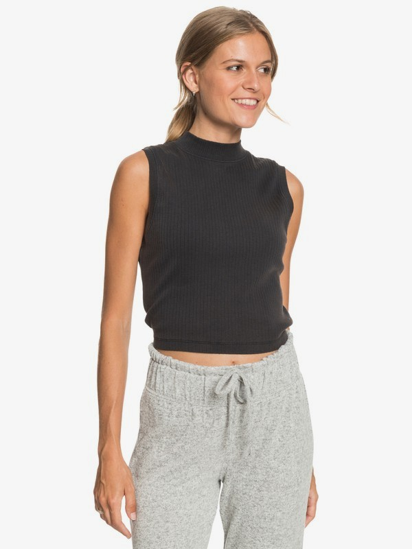 Spring Muse - Rib Knit Mock Neck Top for Women  ERJKT03763