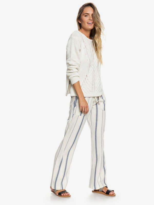 0 Oceanside Flared Linen Pants White ERJNP03210 Roxy
