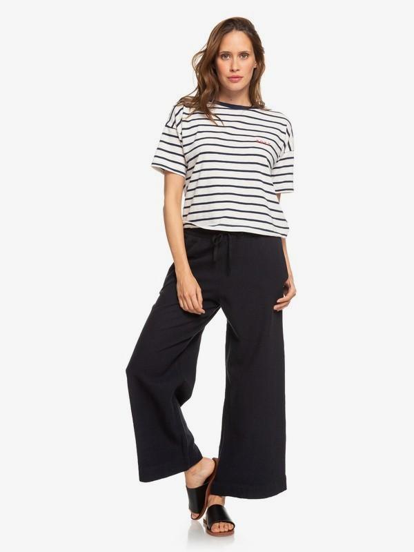 0 Great Past Wide Leg Cropped Linen Pants Black ERJNP03269 Roxy