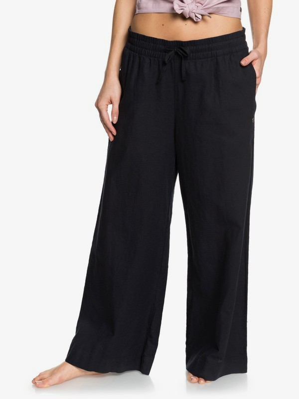 Great Past - Cropped Wide Leg Linen Trousers  ERJNP03319