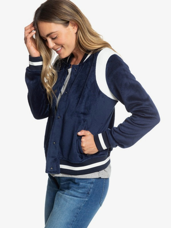 0 Stormy Waters - Polar Fleece Bomber Jacket for Women Blue ERJPF03047 Roxy