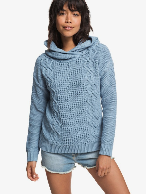 0 Off To Dinner Knitted Hoodie Blue ERJSW03275 Roxy