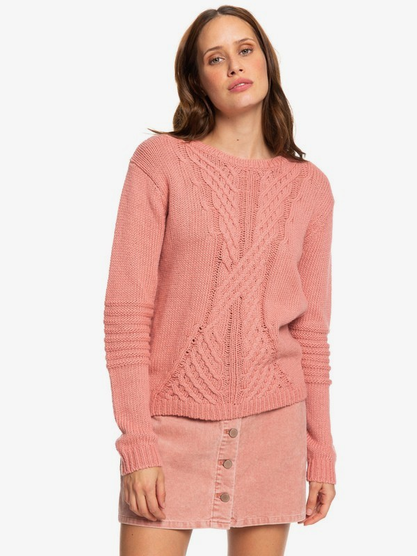 0 Glimpse Of Romance - Pull col rond pour Femme Rose ERJSW03276 Roxy