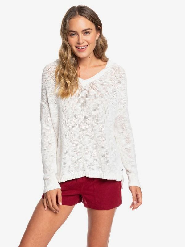 0 Lovely Soul Hooded Poncho Sweater White ERJSW03363 Roxy