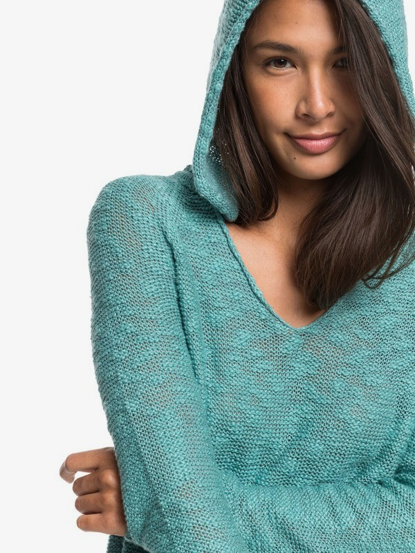 Airport Vibes - Hooded Poncho Jumper for Women  ERJSW03389