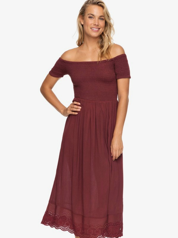 0 Pretty Lovers Off The Shoulder Midi Dress Red ERJWD03209 Roxy