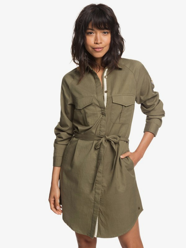Khaki Sphere - Long Sleeve Shirt Dress for Women  ERJWD03256