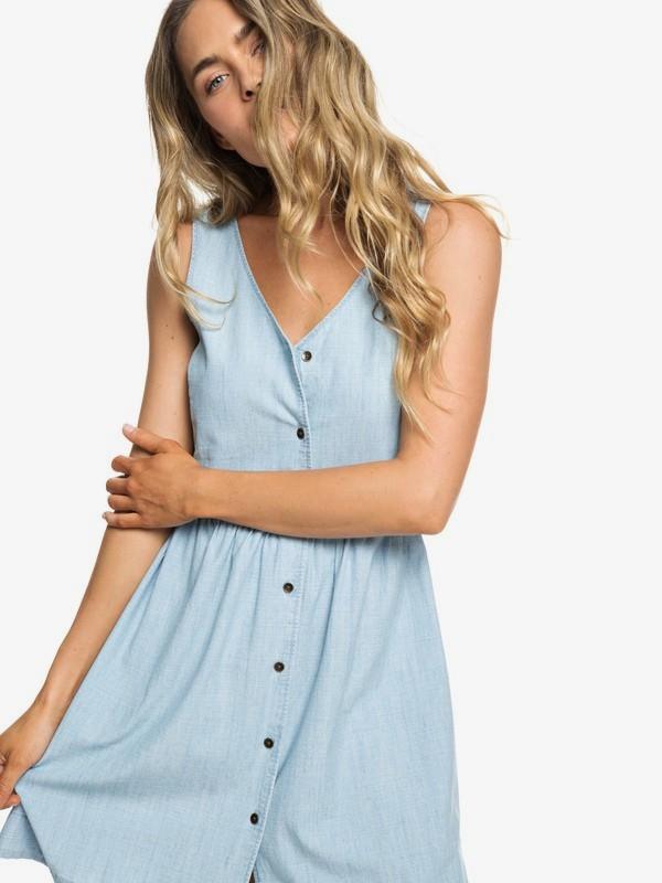 0 Central Park Chill - Vestido sin Mangas con Botones Delanteros para Mujer Azul ERJWD03297 Roxy