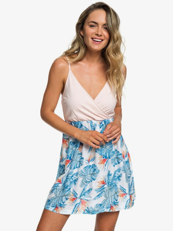 0 Floral Offering Wrap-Front Strappy Skater Dress White ERJWD03323 Roxy