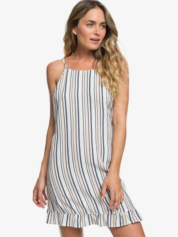 0 Golden Skin Stripe Ruffle Hem Strappy Dress White ERJWD03341 Roxy