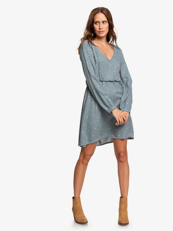0 Heatin Up - Long Sleeve V-Neck Dress for Women Blue ERJWD03357 Roxy