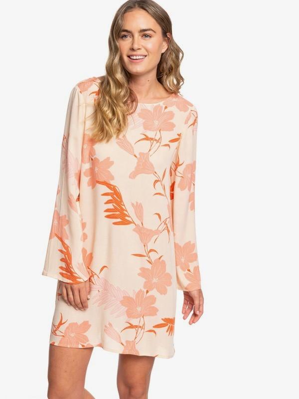 0 Dusk Till Down Long Sleeve Floaty Dress Beige ERJWD03382 Roxy
