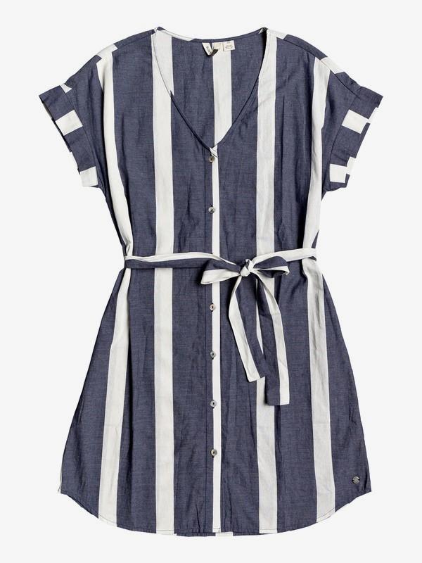 0 Hear Me Now Short Sleeve Buttoned Dress Blue ERJWD03383 Roxy