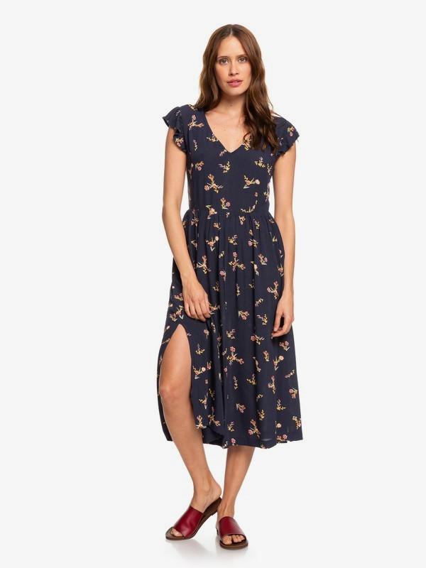 0 Rush Minute Short Sleeve Midi Dress Blue ERJWD03384 Roxy