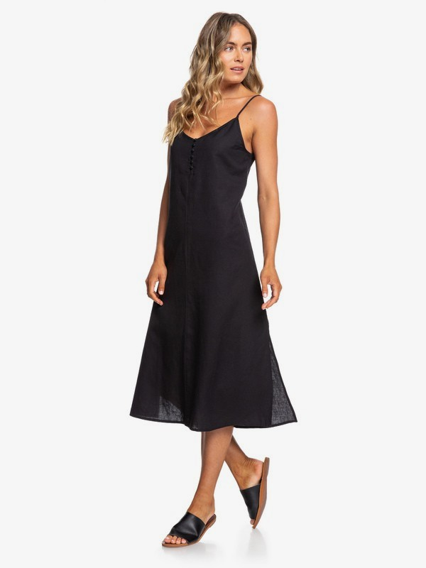 0 Paradise Circus Strappy Linen Midi Dress Black ERJWD03392 Roxy