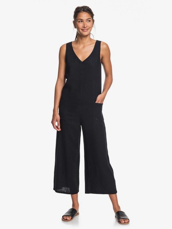 0 Baby Remember Sleeveless Linen Jumpsuit Black ERJWD03402 Roxy