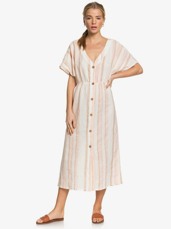 Joyful Noise - Short Sleeve Midi Buttoned Linen Dress  ERJWD03419