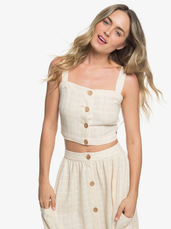 0 Ocean Groove Buttoned Crop Top Beige ERJWT03316 Roxy