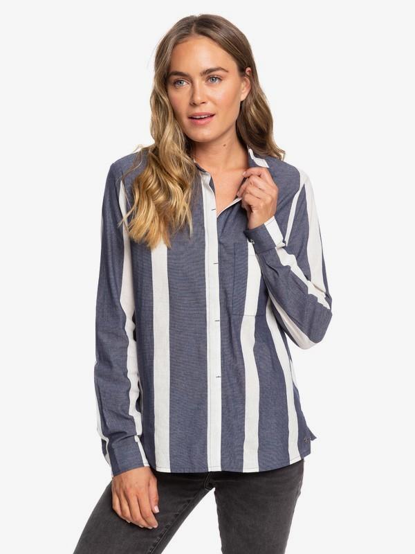 0 Mess Is Mine Stripe Long Sleeve Shirt Blue ERJWT03363 Roxy