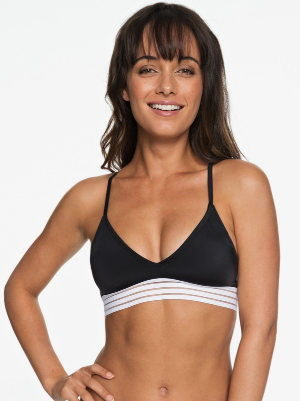0 ROXY Fitness - Athletic Tri Bikini Top for Women Black ERJX303748 Roxy