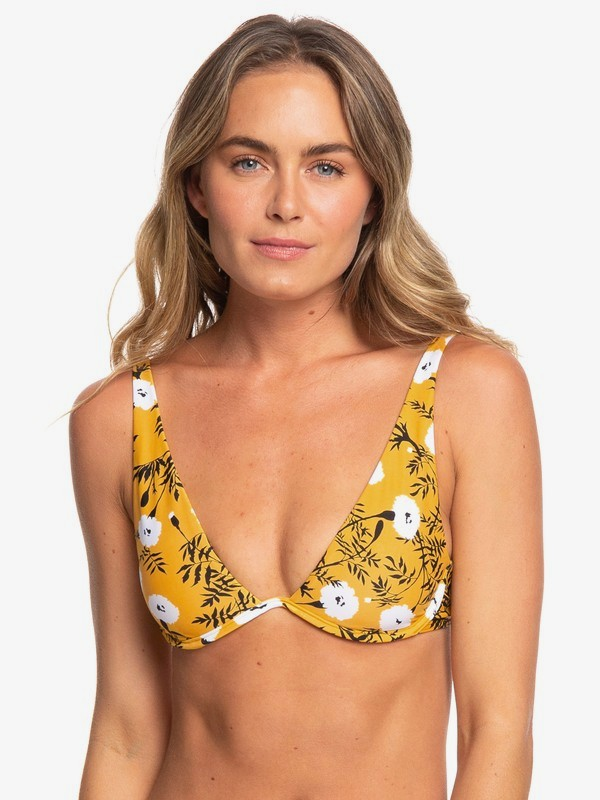 0 Wavy Soul Underwired Elongated Tri Bikini Top Yellow ERJX304055 Roxy