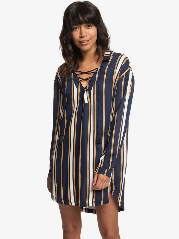 0 Lonely For You Long Sleeve Shirt Dress Blue ERJX603139 Roxy