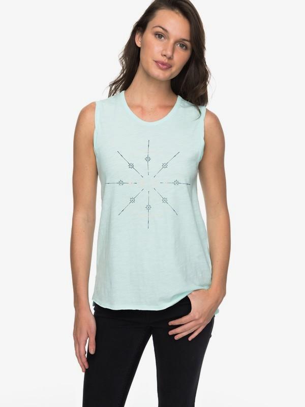 0 Time For An Other Year - Tee-shirt sans manches pour Femme Bleu ERJZT04184 Roxy
