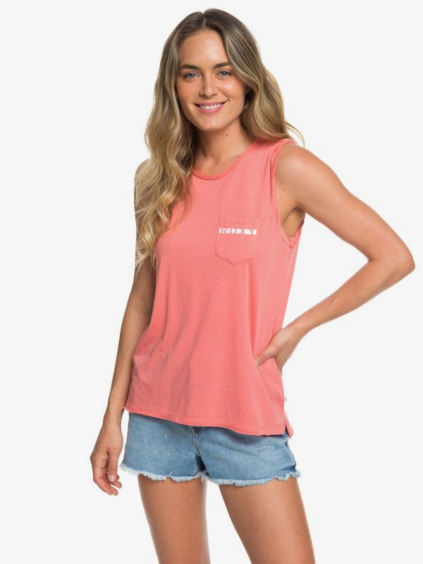 0 Time For Another Day A Sleeveless Tee Pink ERJZT04597 Roxy
