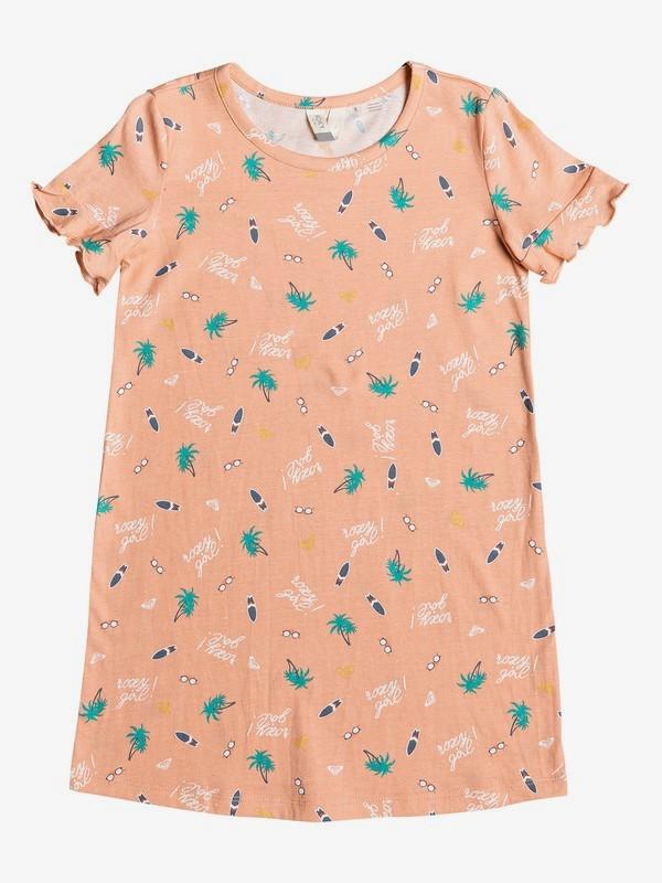0 Second Sun - Vestido-Camiseta de Manga Corta para Chicas 2-7 Naranja ERLKD03064 Roxy