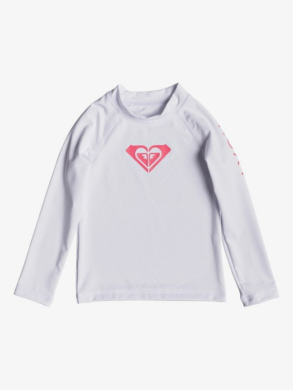 0 Whole Hearted - Long Sleeve UPF 50 Rash Vest for Girls 2-7 White ERLWR03075 Roxy