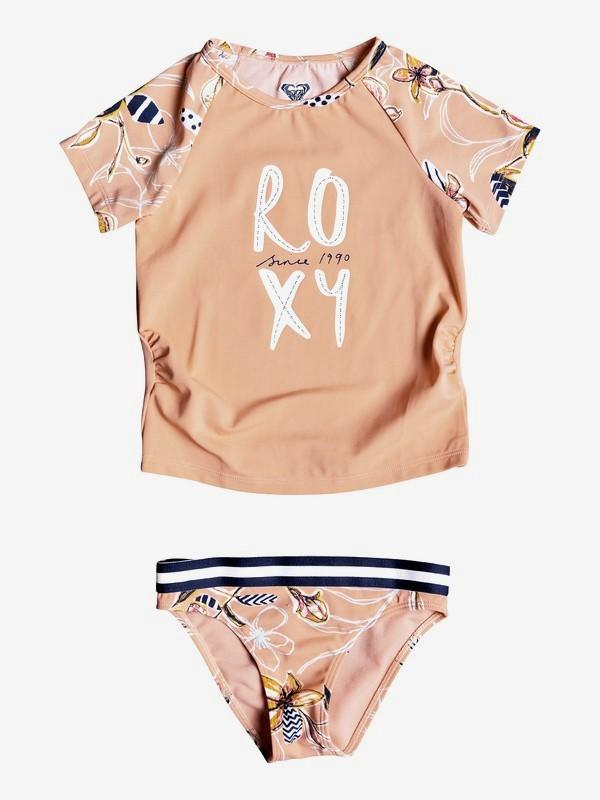0 Girl's 2-6 Let's Be ROXY Short Sleeve UPF 50 Rash Guard Set Pink ERLWR03084 Roxy