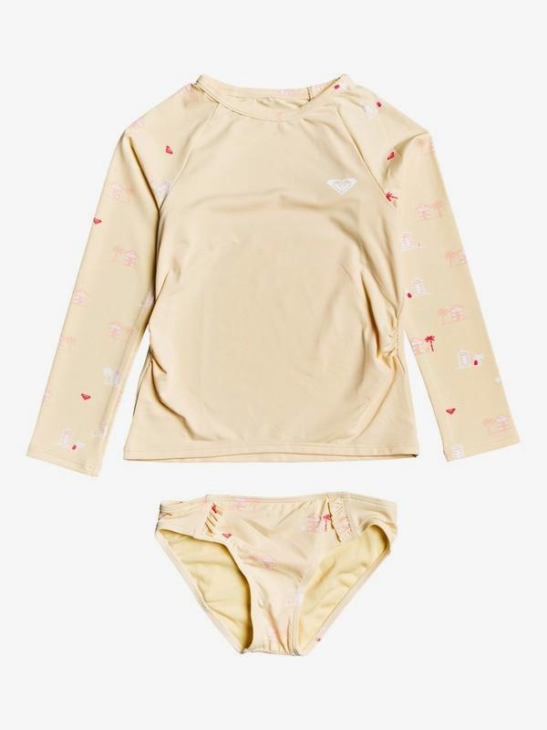 0 Girl's 2-6 Tropical Away Long Sleeve UPF 50 Rashguard Set Yellow ERLWR03114 Roxy