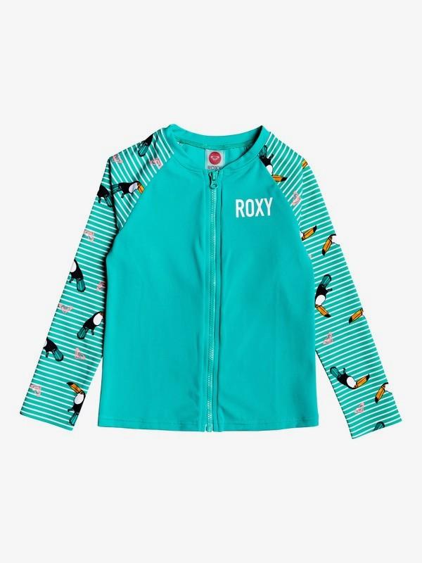 ROXY Birds - Long Sleeve UPF 50 Front Zip Rash Vest for Girls 2-7  ERLWR03125