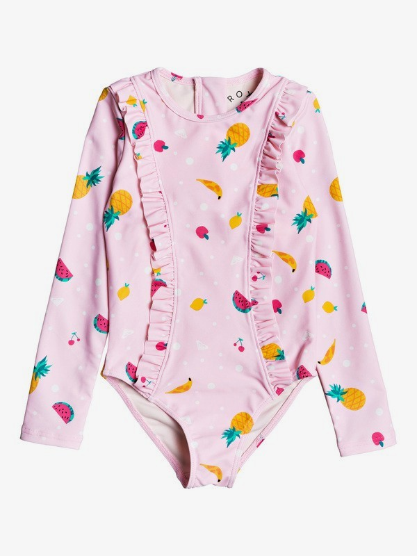 Lovely Aloha - Long Sleeve Zipped UPF 50 One-Piece Rashguard for Girls 2-7  ERLWR03143