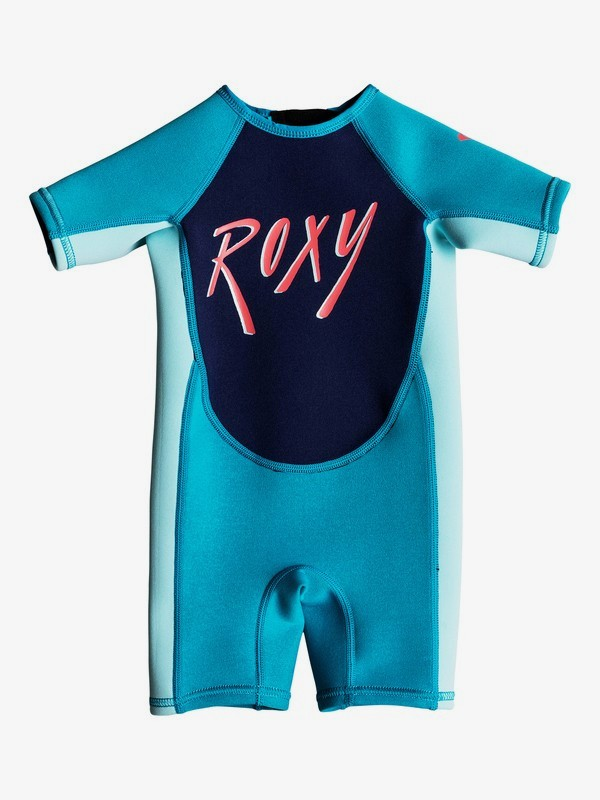 0 Girl's 2-6 Toddlers 1.5mm Syncro Short Sleeve Back Zip Springsuit Blue EROW503002 Roxy